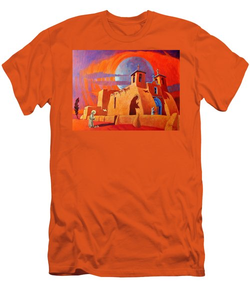 Men's T-Shirt (Slim Fit) featuring the painting In The Shadow Of St. Francis by Art West
