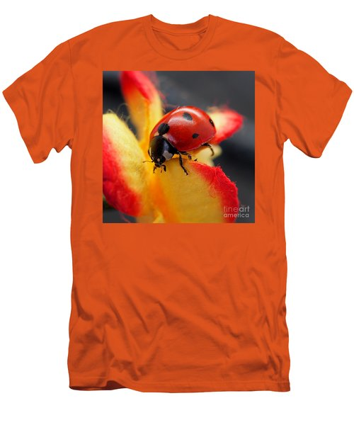 Insect Ladybug On A Paper Flower Men's T-Shirt (Athletic Fit)