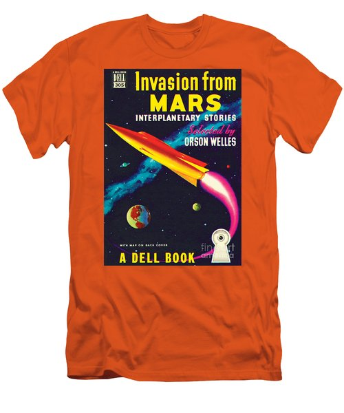 Men's T-Shirt (Slim Fit) featuring the painting Invasion From Mars by Malcolm Smith