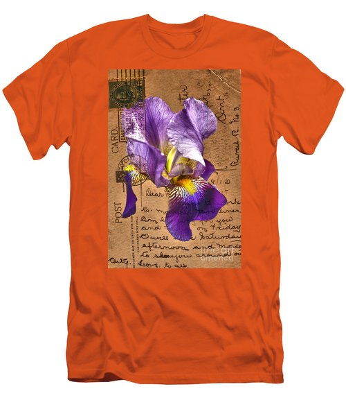 Iris On Vintage 1912 Postcard Men's T-Shirt (Athletic Fit)