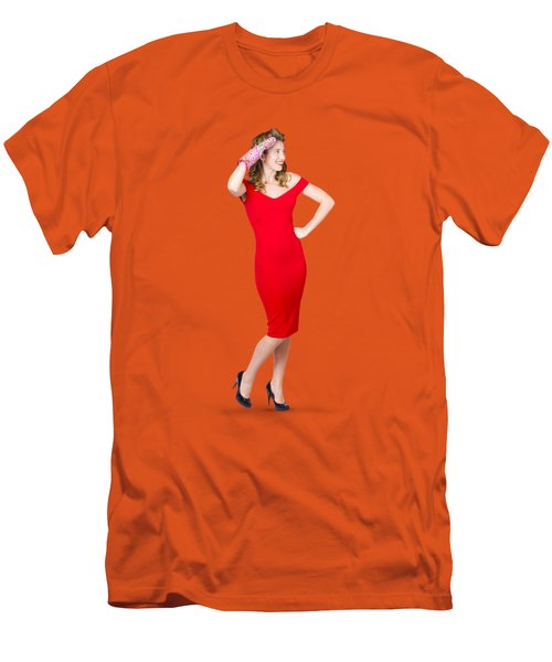 Isolated Female Pin Up Cook On Stove Watch Men's T-Shirt (Slim Fit)