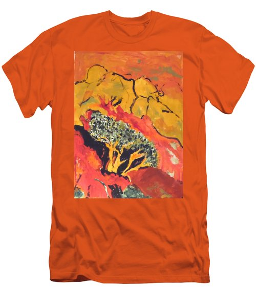 Men's T-Shirt (Athletic Fit) featuring the painting Joshua Trees In The Negev by Esther Newman-Cohen