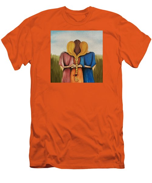 Men's T-Shirt (Slim Fit) featuring the painting Just One Braid by Edwin Alverio