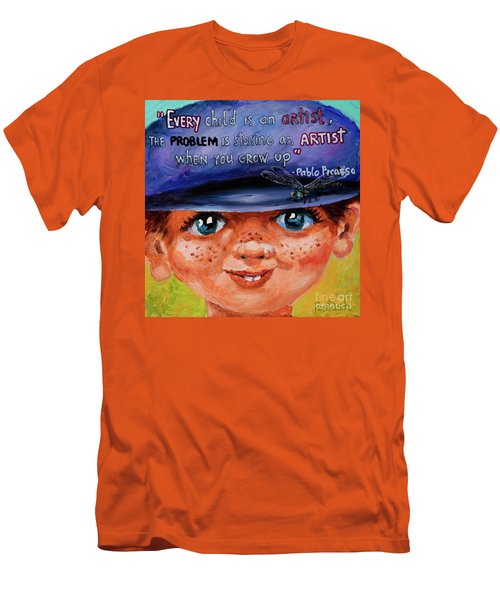 Men's T-Shirt (Slim Fit) featuring the painting Kid by Igor Postash