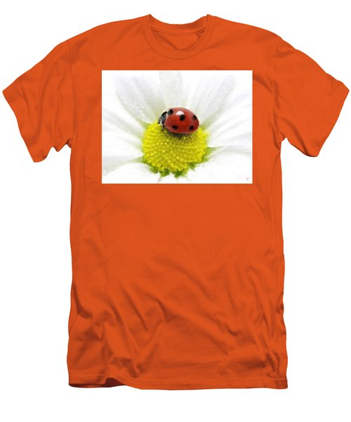 Men's T-Shirt (Slim Fit) featuring the mixed media Ladybug On White Daisy by Anthony Fishburne