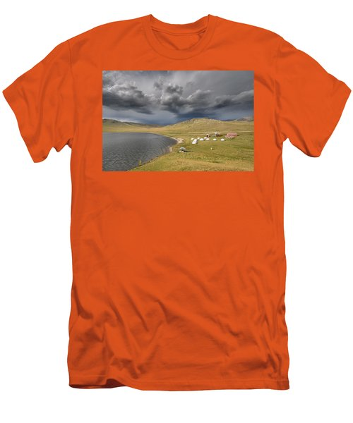 Men's T-Shirt (Athletic Fit) featuring the photograph Lakeside Camp, Khorgo, 2016 by Hitendra SINKAR