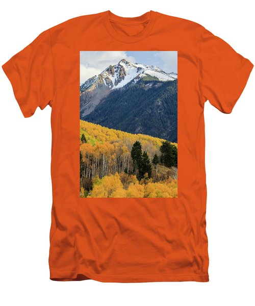 Men's T-Shirt (Athletic Fit) featuring the photograph Last Light Of Autumn Vertical by David Chandler