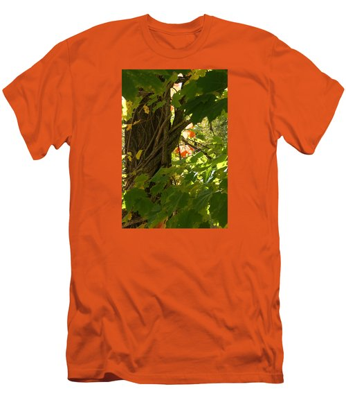 Men's T-Shirt (Slim Fit) featuring the photograph Leaf Peeping In Red by Margie Avellino