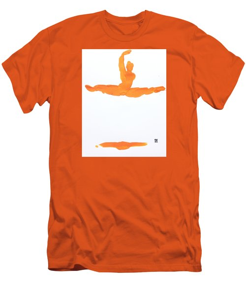 Men's T-Shirt (Slim Fit) featuring the painting Leap Brush Orange 1 by Shungaboy X