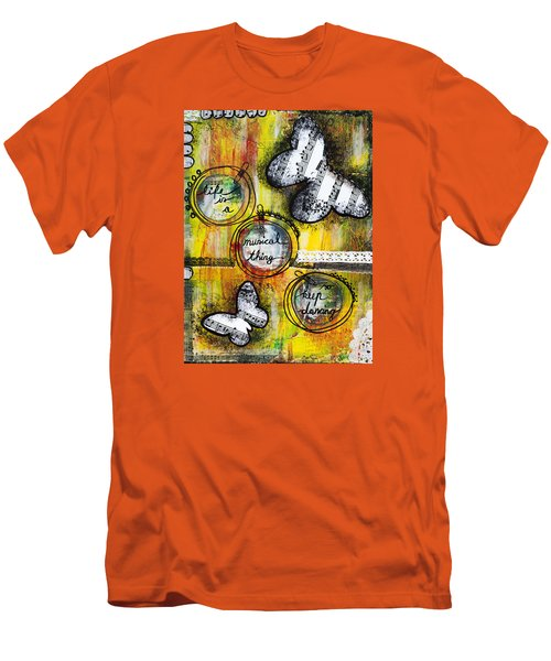 Men's T-Shirt (Slim Fit) featuring the mixed media Life Is A Musical Thing by Stanka Vukelic