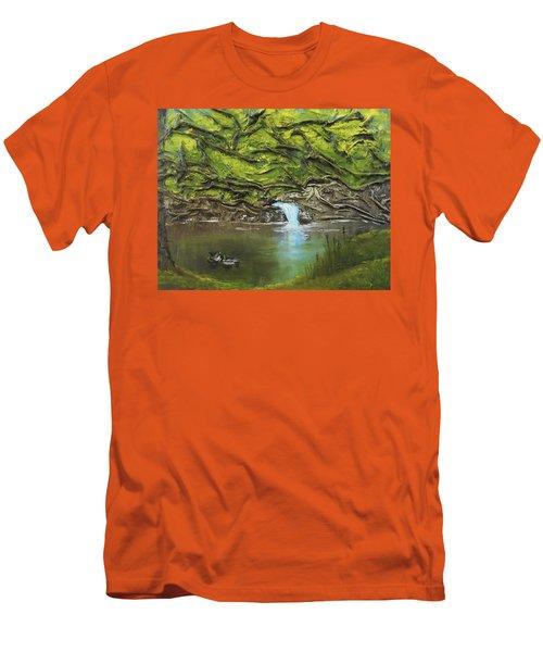 Like Ducks On Water Men's T-Shirt (Slim Fit) by Angela Stout
