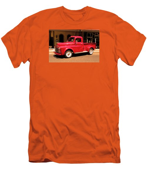 Men's T-Shirt (Slim Fit) featuring the photograph Lil Red Truck On A Dusty Street by Spyder Webb