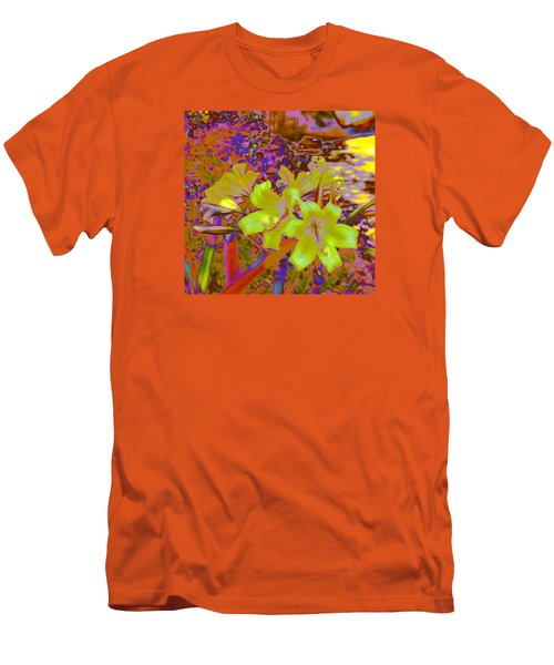 Men's T-Shirt (Slim Fit) featuring the photograph Lily Glow Yellow by M Diane Bonaparte