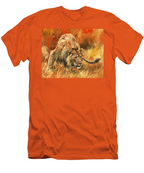 Men's T-Shirt (Slim Fit) featuring the painting Lion Alert by David Stribbling