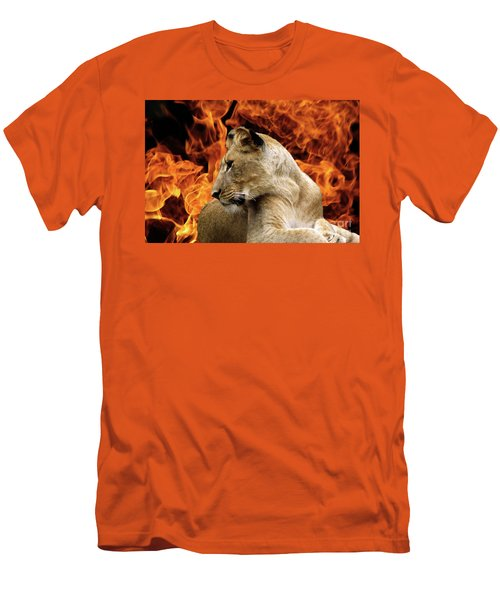 Lion And Fire Men's T-Shirt (Athletic Fit)