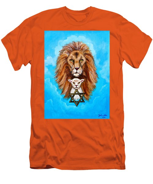Men's T-Shirt (Slim Fit) featuring the painting Lion Lies Down With A Lamb by Bob and Nadine Johnston