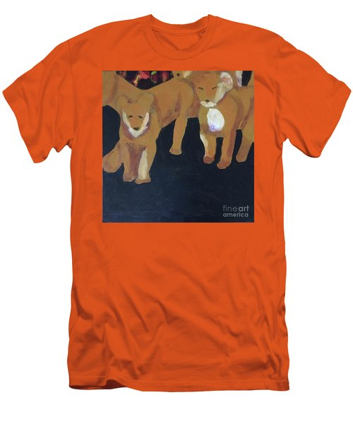 Men's T-Shirt (Athletic Fit) featuring the painting Lioness' Pride 5 Of 6 by Donald J Ryker III