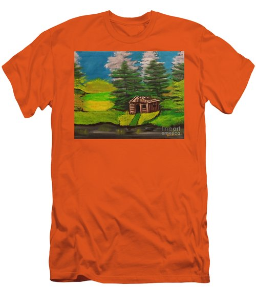 Men's T-Shirt (Slim Fit) featuring the painting Log Cabin by Brindha Naveen