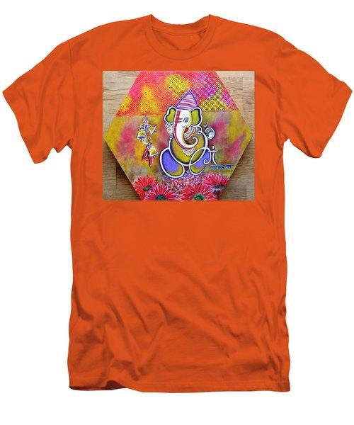 Lord Ganesha With Mantra Om Gam Ganapateye Namaha Men's T-Shirt (Athletic Fit)