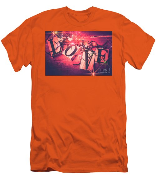 Love Birds And Wooden Sentiments Men's T-Shirt (Athletic Fit)
