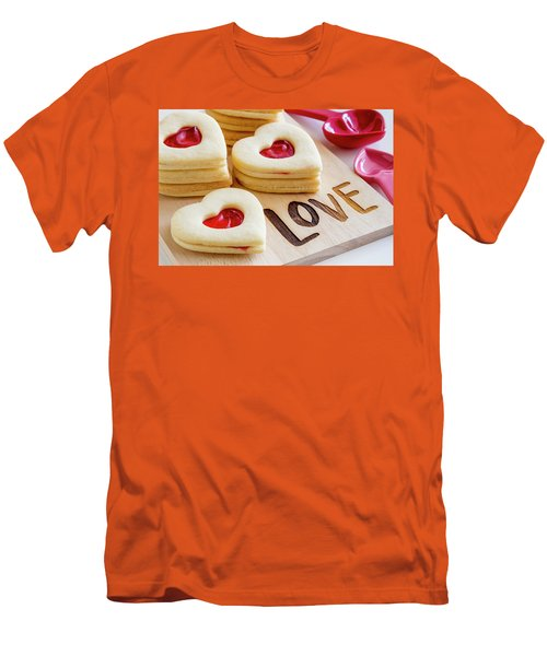 Men's T-Shirt (Slim Fit) featuring the photograph Love Heart Cookies by Teri Virbickis
