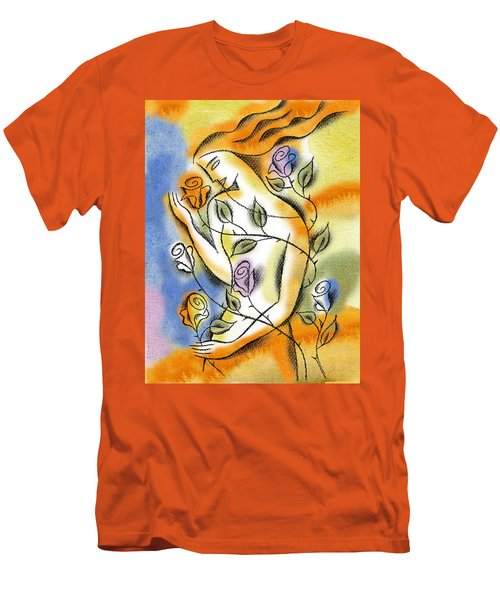 Men's T-Shirt (Slim Fit) featuring the painting Love, Roses And Thorns by Leon Zernitsky