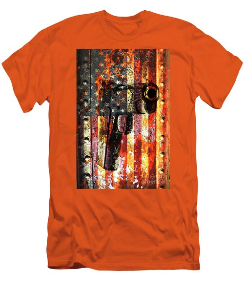 M1911 Silhouette On Rusted American Flag Men's T-Shirt (Athletic Fit)