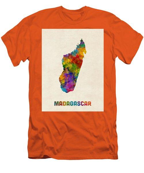 Men's T-Shirt (Slim Fit) featuring the digital art Madagascar Watercolor Map by Michael Tompsett