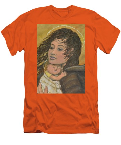 Men's T-Shirt (Slim Fit) featuring the painting Madonna Of The Prairie Wind by Kathleen McDermott