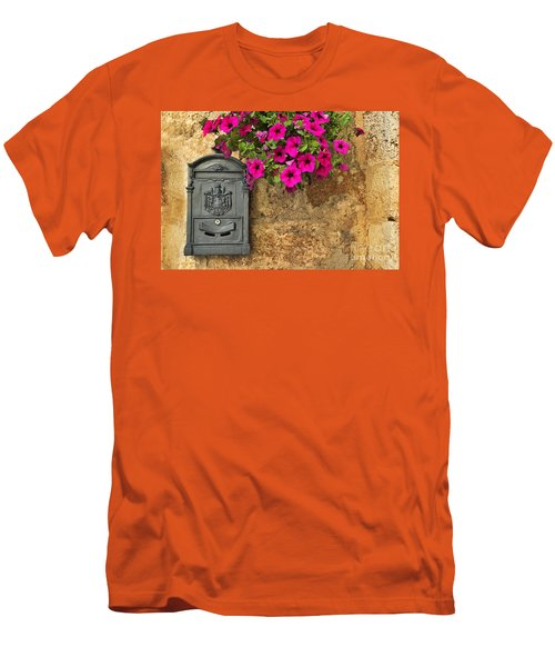 Mailbox With Petunias Men's T-Shirt (Slim Fit) by Silvia Ganora