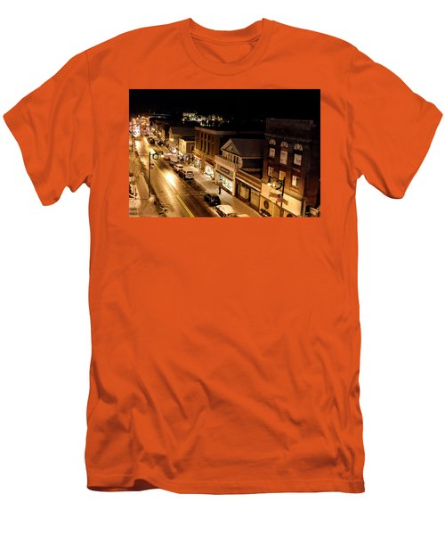 Men's T-Shirt (Slim Fit) featuring the photograph Main Street - Lake Placid New York by Brendan Reals