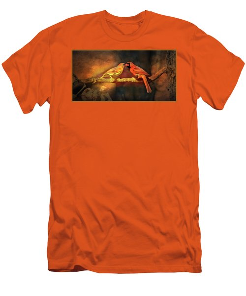 Male And Female Cardinal Men's T-Shirt (Slim Fit) by Diane Giurco