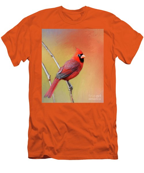 Men's T-Shirt (Slim Fit) featuring the photograph Male Cardinal Perched by Myrna Bradshaw