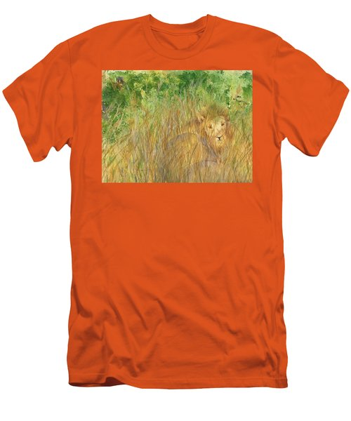 Men's T-Shirt (Slim Fit) featuring the painting Mara The Lioness by Vicki  Housel