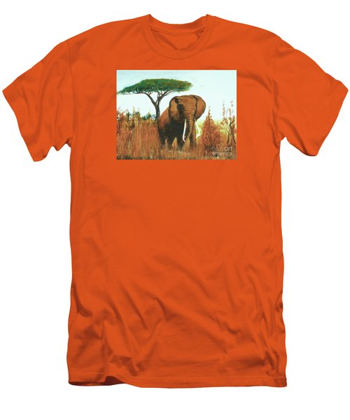 Men's T-Shirt (Slim Fit) featuring the painting Marsha's Elephant by Donna Dixon