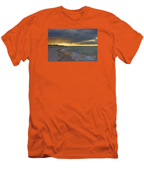 Men's T-Shirt (Slim Fit) featuring the photograph Mayflower Beach Walk by Amazing Jules