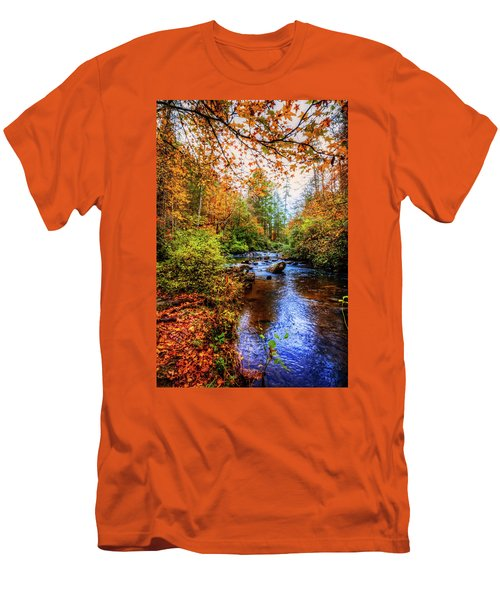 Men's T-Shirt (Slim Fit) featuring the photograph Meandering In The Mountains by Debra and Dave Vanderlaan