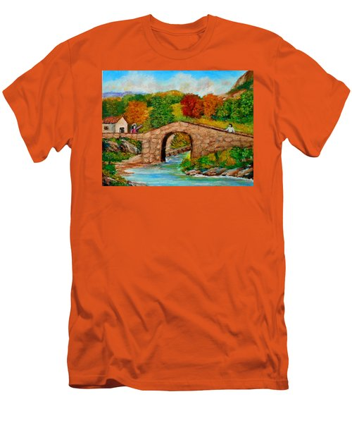 Meeting On The Old Bridge Men's T-Shirt (Athletic Fit)