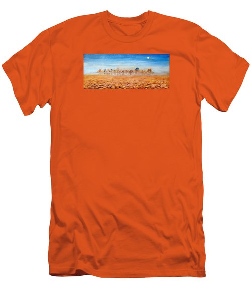 Men's T-Shirt (Slim Fit) featuring the painting Mirage City by Arturas Slapsys