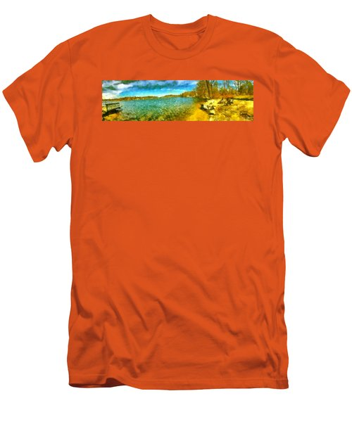 Men's T-Shirt (Athletic Fit) featuring the painting Mohegan Lake Panoramic Beach by Derek Gedney