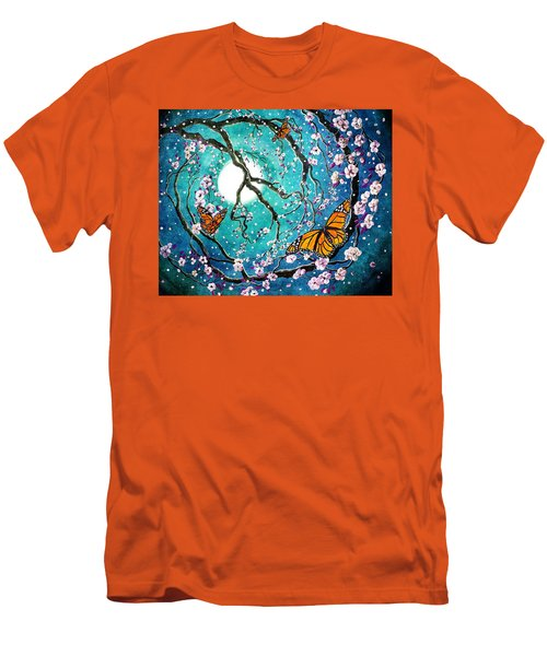 Monarch Butterflies In Teal Moonlight Men's T-Shirt (Slim Fit) by Laura Iverson