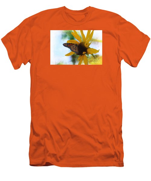 Monarch With Sunflower Men's T-Shirt (Slim Fit) by Yumi Johnson