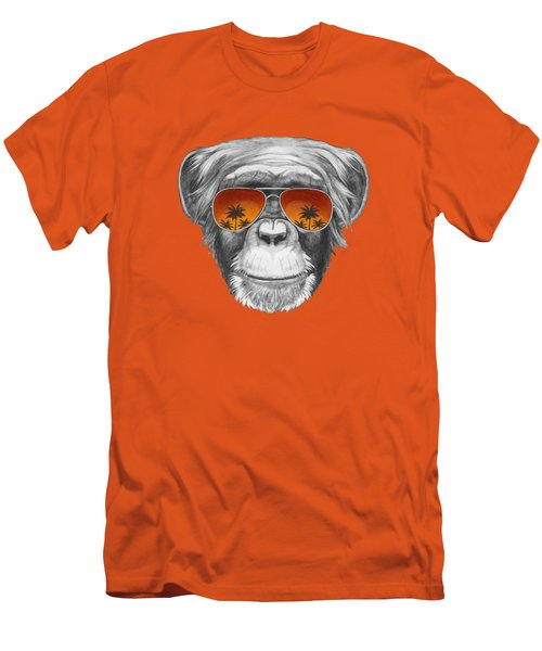 Monkey With Mirror Sunglasses Men's T-Shirt (Slim Fit) by Marco Sousa