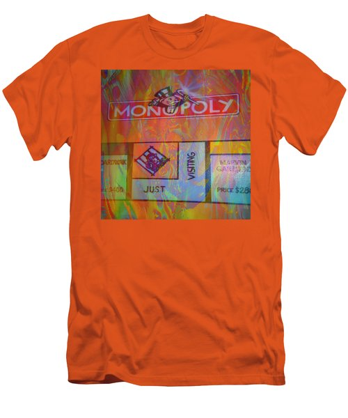 Men's T-Shirt (Slim Fit) featuring the mixed media Monopoly Dream by Kevin Caudill