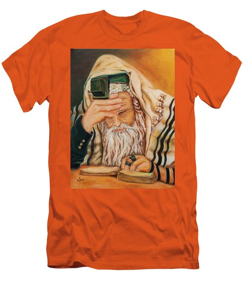 Men's T-Shirt (Slim Fit) featuring the painting Morning Prayer by Itzhak Richter
