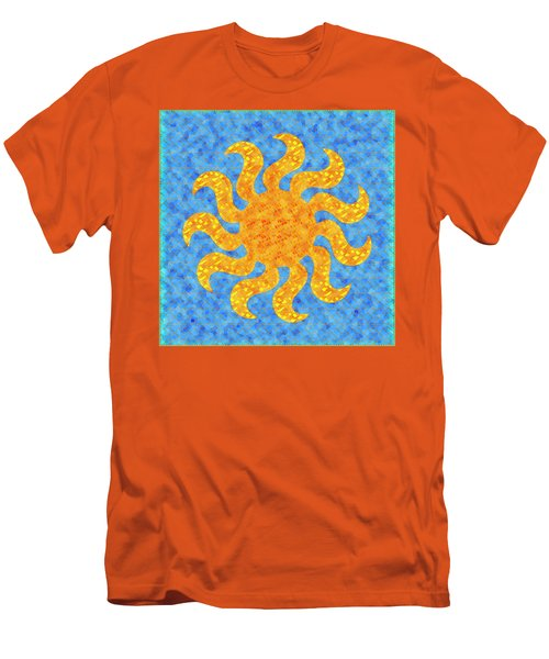 Mosaic Stained-glass Of The Sun Men's T-Shirt (Slim Fit) by Anton Kalinichev