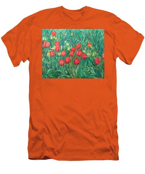 Men's T-Shirt (Slim Fit) featuring the painting Mostly Tulips by Kendall Kessler