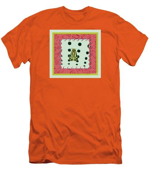 Moth Red Border Men's T-Shirt (Athletic Fit)