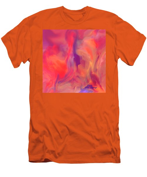 Men's T-Shirt (Slim Fit) featuring the painting Mother And Daughter Abstract by Sherri  Of Palm Springs