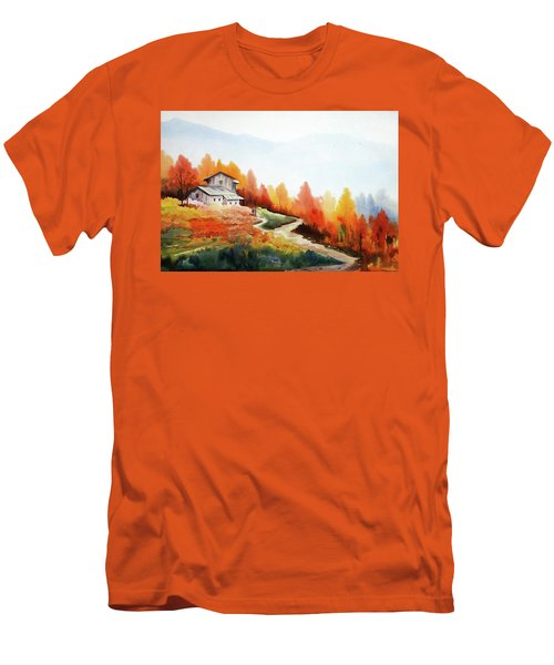 Men's T-Shirt (Slim Fit) featuring the painting Mountain Autumn Forest by Samiran Sarkar